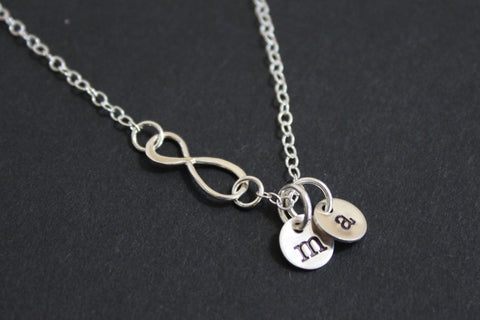 Infinity necklace with two hand stamped initial charms - Sterling silver