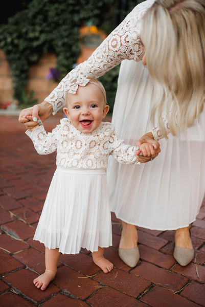 IVY CITY CO: MINI Arabella Lace Dress in Classic White