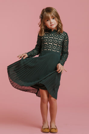 MINI Arabella Lace Dress in Hunter Green