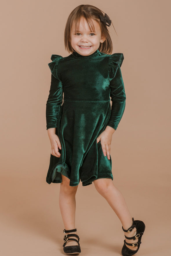 MINI LA LA LADY DRESS IN EMERALD