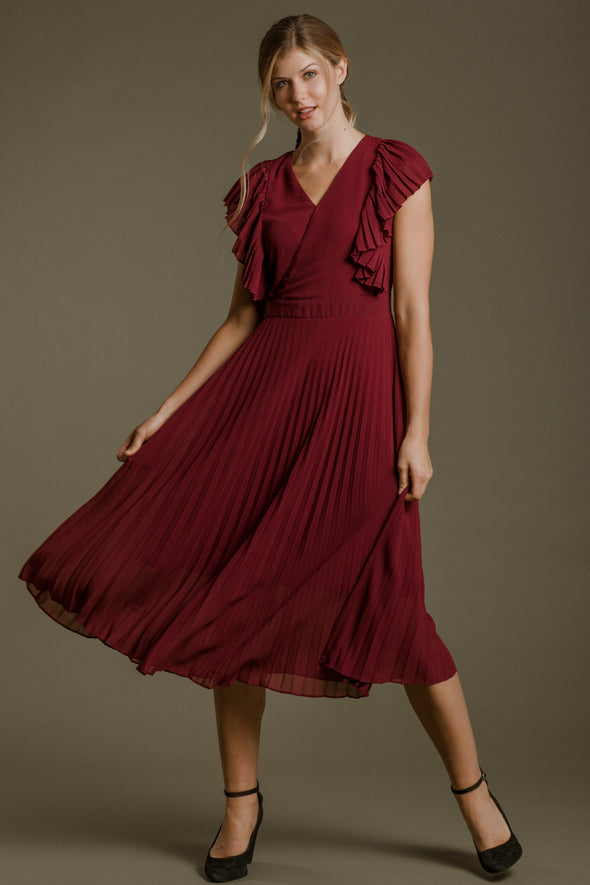 The Alice In Wonderland Dress in Wine