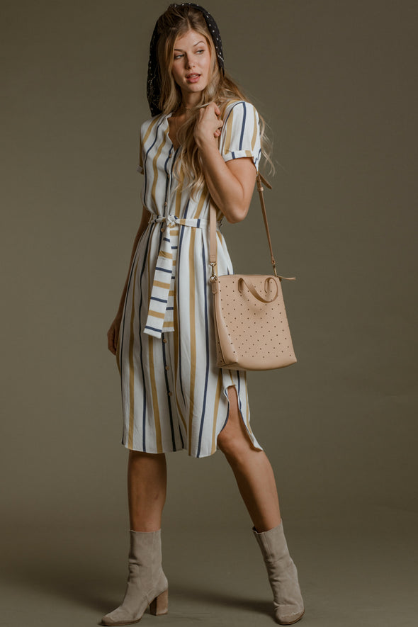 Kandy Midi Dress in Fall Stripe