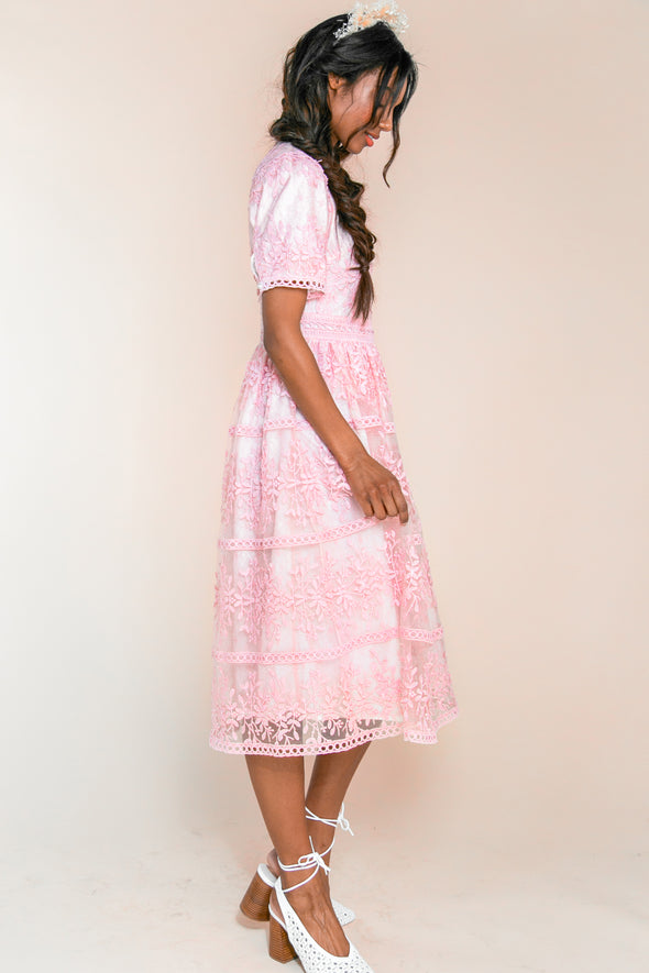 SICILY DRESS IN PINK SHORT SLEEVE
