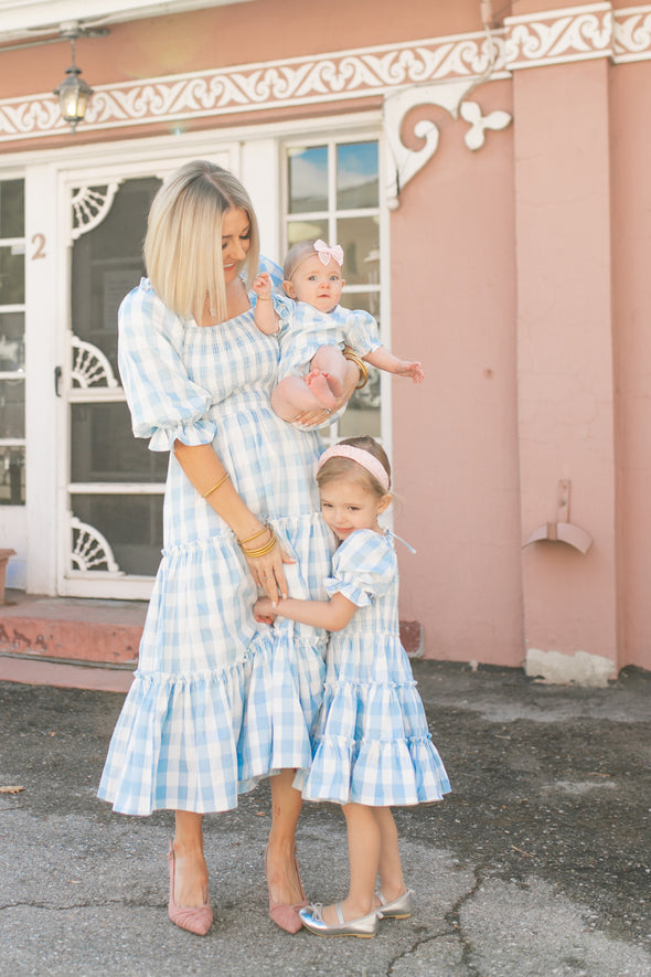 MINI MIA GINGHAM DRESS IN BLUE