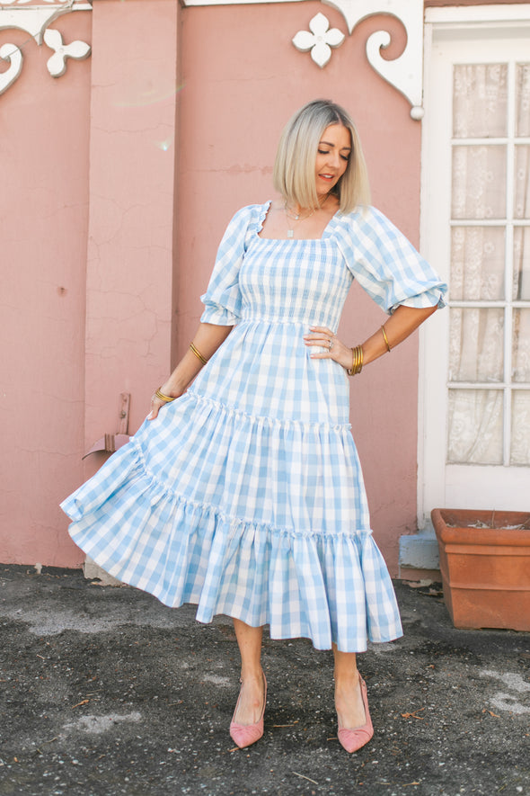 MIA GINGHAM DRESS IN BLUE
