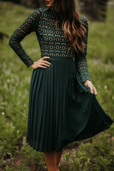 IVY CITY CO: Arabella Lace Dress in Hunter Green