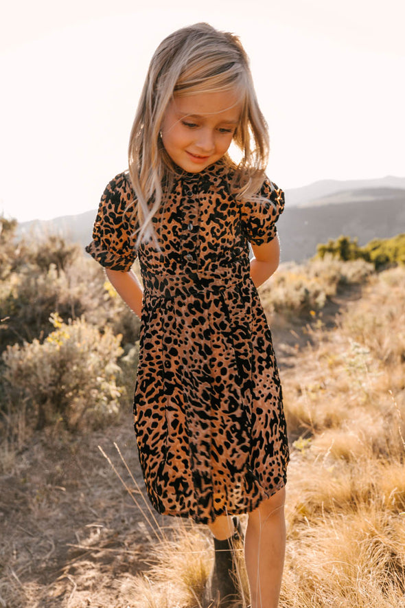 MINI Anna Dress in Velvet  Embossed Leopard