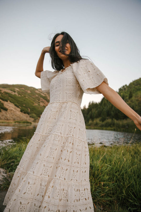 ETTA EMBROIDERED LACE DRESS