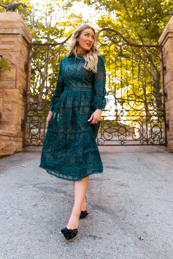 Sicily Dress in Hunter Green