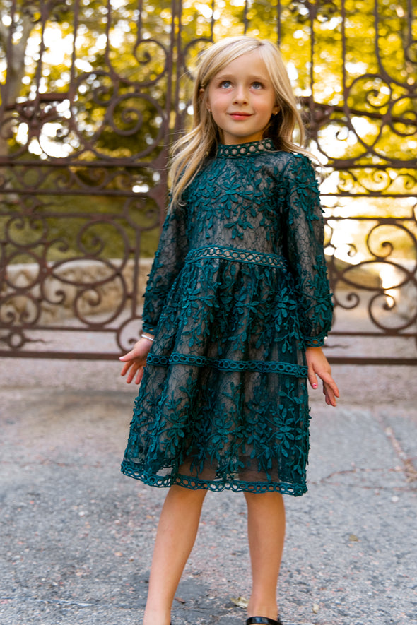 MINI SICILY DRESS IN HUNTER GREEN