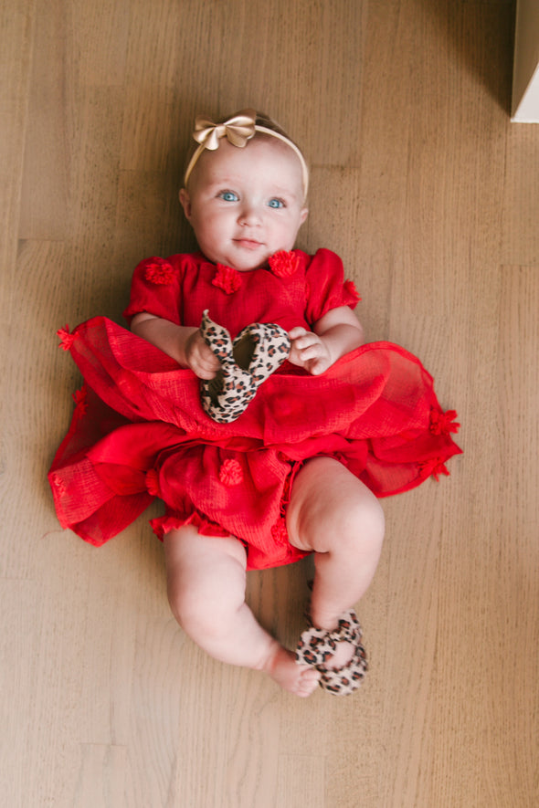 BABY FIRST KISS POM POM DRESS IN RED