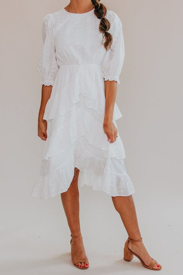 Bella Eyelet Ruffle Dress