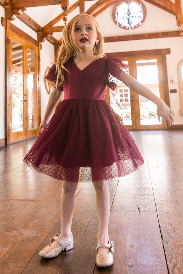 MINI PARTY DRESS IN WINE