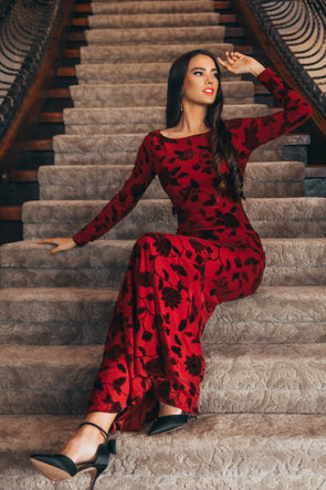 BLAIR IN RED VELVET EMBOSSED MAXI