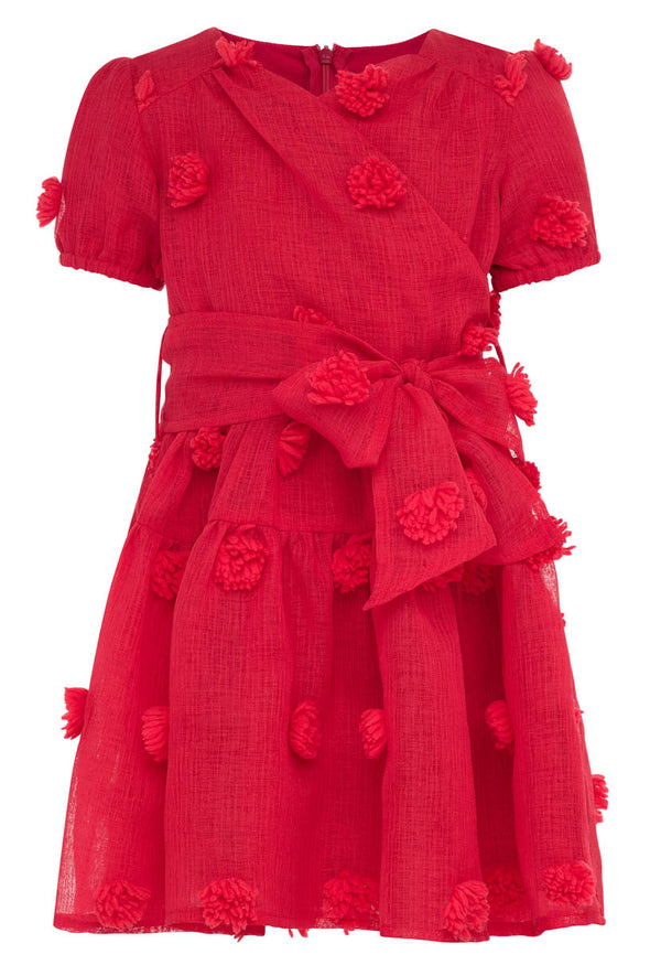 MINI FIRST KISS POM POM DRESS IN RED