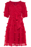 FIRST KISS POM POM DRESS IN RED