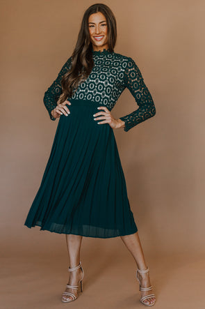 Arabella Lace Dress in Hunter Green