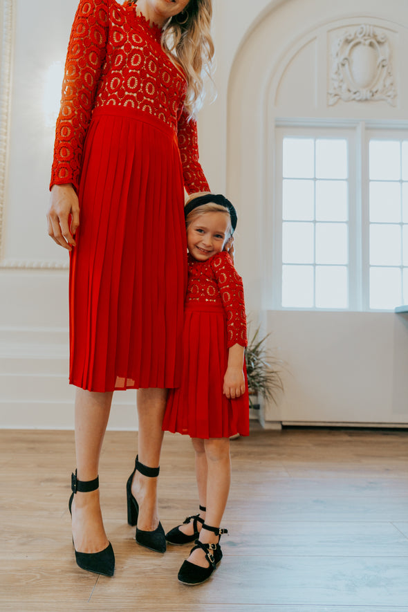 Arabella Lace Dress in Red