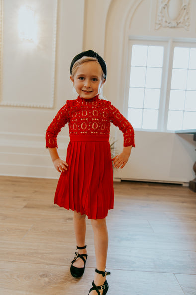 MINI Arabella Lace Dress in Red
