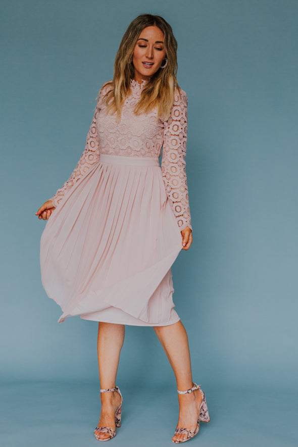 Arabella Lace Dress In Light Blush-SLIGHTLY IMPERFECT
