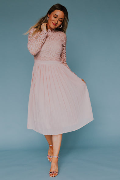 Arabella Lace Dress In Light Blush