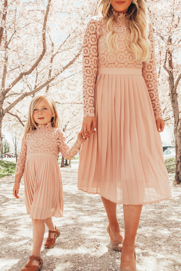 MINI Arabella Lace Dress in Light Blush