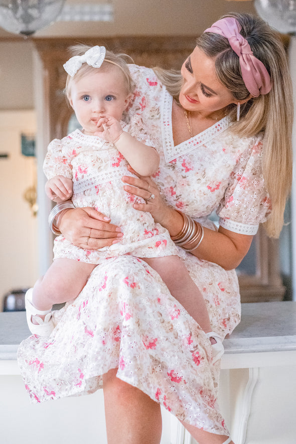 BABY ESSIE EYELET FLORAL DRESS SET