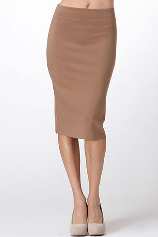 THE MYSTYLEMODE CAMEL DOUBLE LINED STRETCH HIGH WAISTED MIDI SKIRT