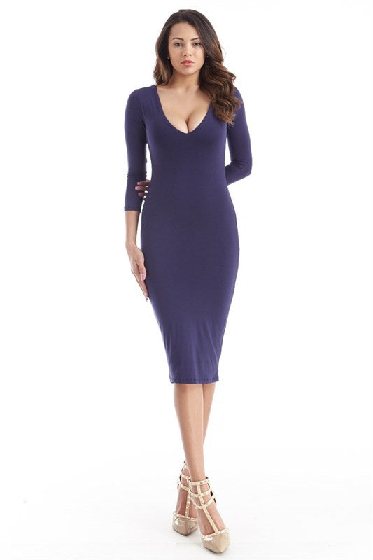 FINAL SALE-THE MYSTYLEMODE NAVY DOUBLE LINED REVERSIBLE V NECK MIDI DRESS