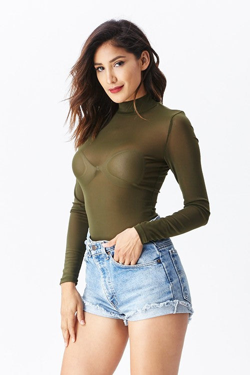 THE MYSTYLEMODE OLIVE MESH TURTLENECK BODYSUIT