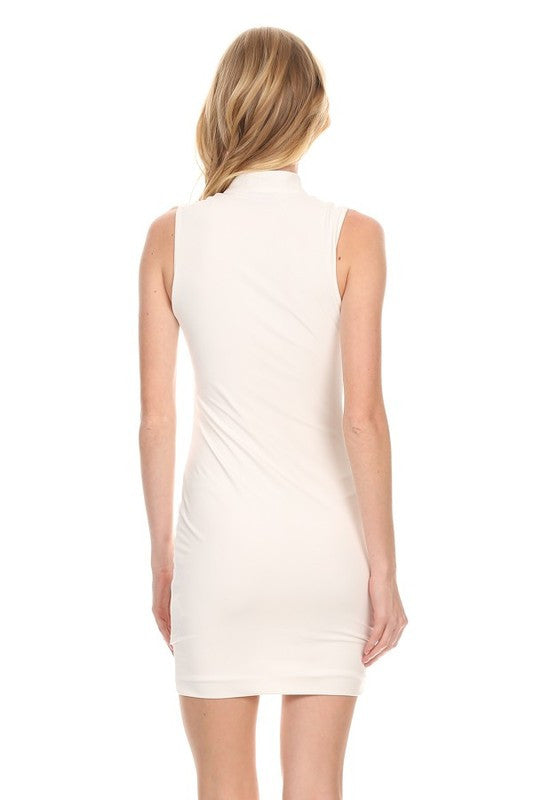 THE MYSTYLEMODE IVORY WHITE DOUBLE LINED SLEEVELESS FRONT ZIPPER MINI DRESS