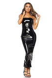 BLACK LATEX MAXI TUBE DRESS