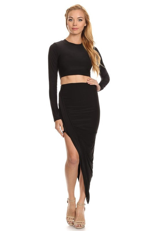 2bf0417f30 THE MYSTYLEMODE BLACK TWO PIECE LONG SLEEVE CROP TOP AND ASYMMETRICAL