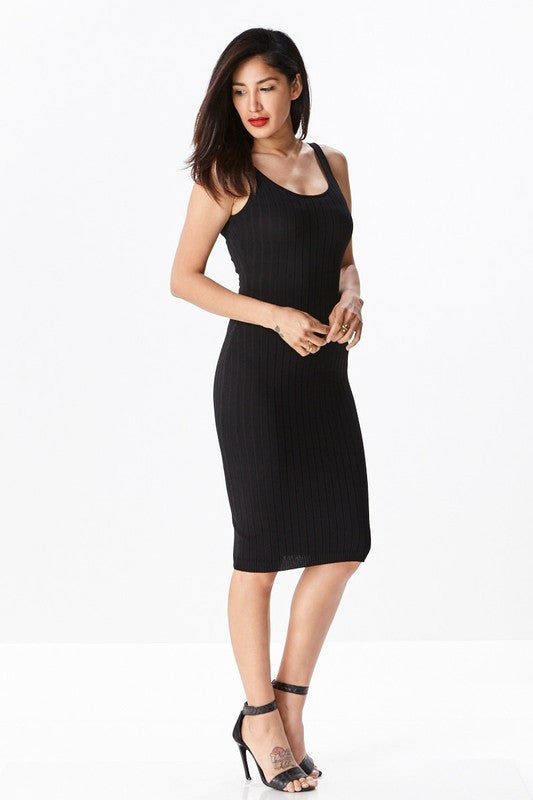 THE MYSTYLEMODE BLACK KNIT RIBBED TANK MIDI DRESS