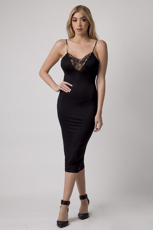 THE MYSTYLEMODE BLACK LACE V NECK MIDI DRESS