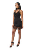 FINAL SALE-THE MYSTYLEMODE BLACK LACE TRIM SATIN MINI DRESS