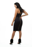 THE MYSTYLEMODE BLACK SUEDE SPAGHETTI DOUBLE LINED ZIPPER BACK MIDI DRESS