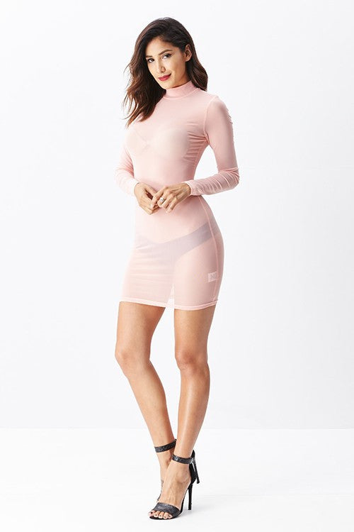 THE MYSTYLEMODE BLUSH MESH TURTLENECK MINI COVER UP DRESS