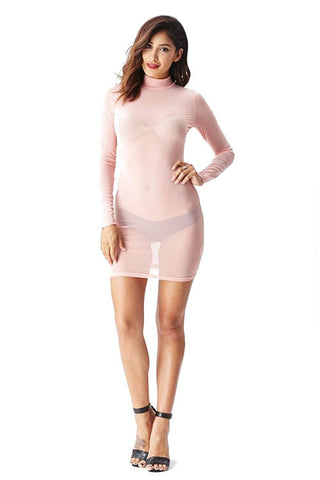 THE MYSTYLEMODE CHAMPAGNE VELVET MOCK NECK BACK ZIPPER DOUBLE LINED ESSENTIAL BODYSUIT