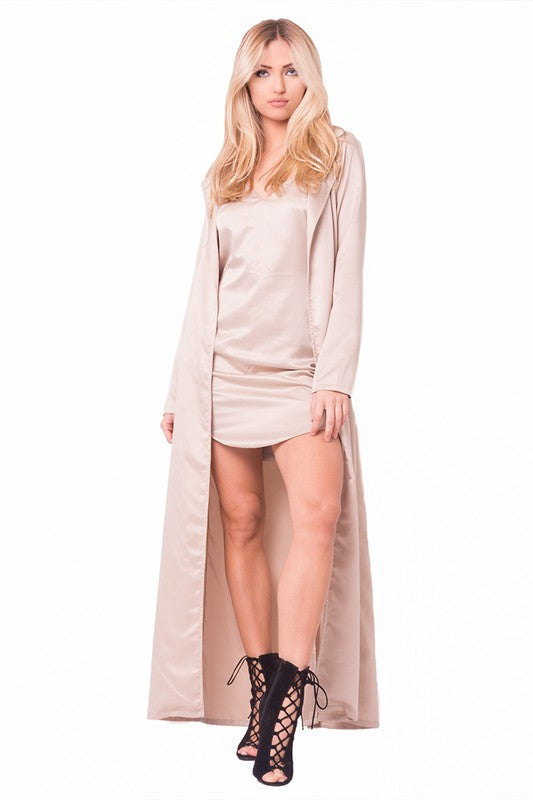 THE MYSTYLEMODE CHAMPAGNE SATIN TRENCH
