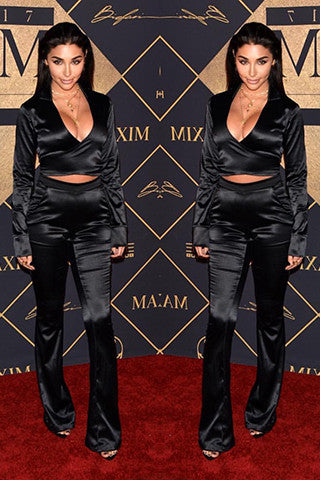 THE MYSTYLEMODE BLACK SATIN TWO PIECE CROP TOP HIGH WAISTED PANT SET