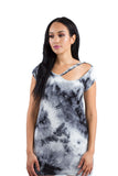 CHARCOAL GRAY TIE DYE RIPPED CUT OUT NECKLINE BOYFRIEND TEE TUNIC