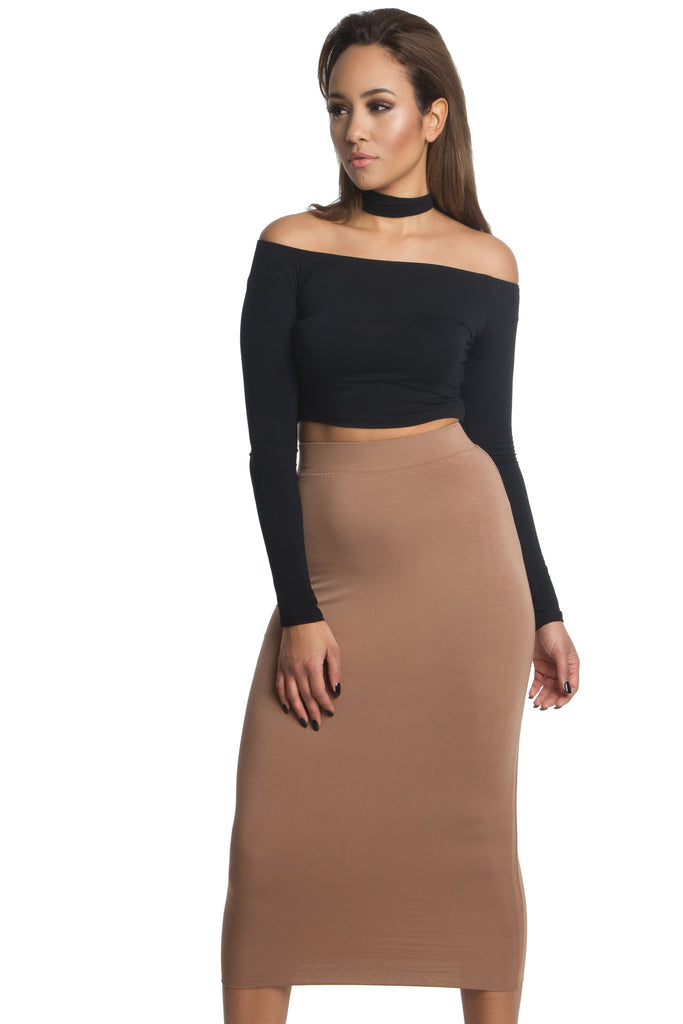 91f7ae31de THE MYSTYLEMODE CAMEL DOUBLE LINED STRETCH HIGH WAISTED MIDI SKIRT