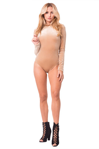 THE MYSTYLEMODE NUDE U CUT OUT MESH RACERBACK BODYSUIT