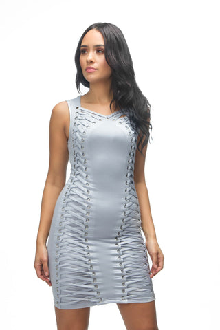 THE MYSTYLEMODE WHITE MESH BUSTIER DOUBLE LINED MIDI DRESS