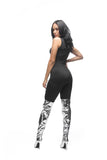 FINAL SALE-THE MYSTYLEMODE BLACK MOCK NECK SHORT JUMPSUIT WITH ZIPPER