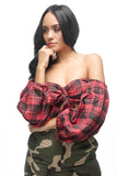 THE MYSTYLEMODE RED PLAID FLANNEL FRONT BOW TIE LONG SLEEVE CROP TOP