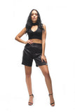 THE MYSTYLEMODE BLACK CHOKER V NECK SLEEVELESS CROP TOP