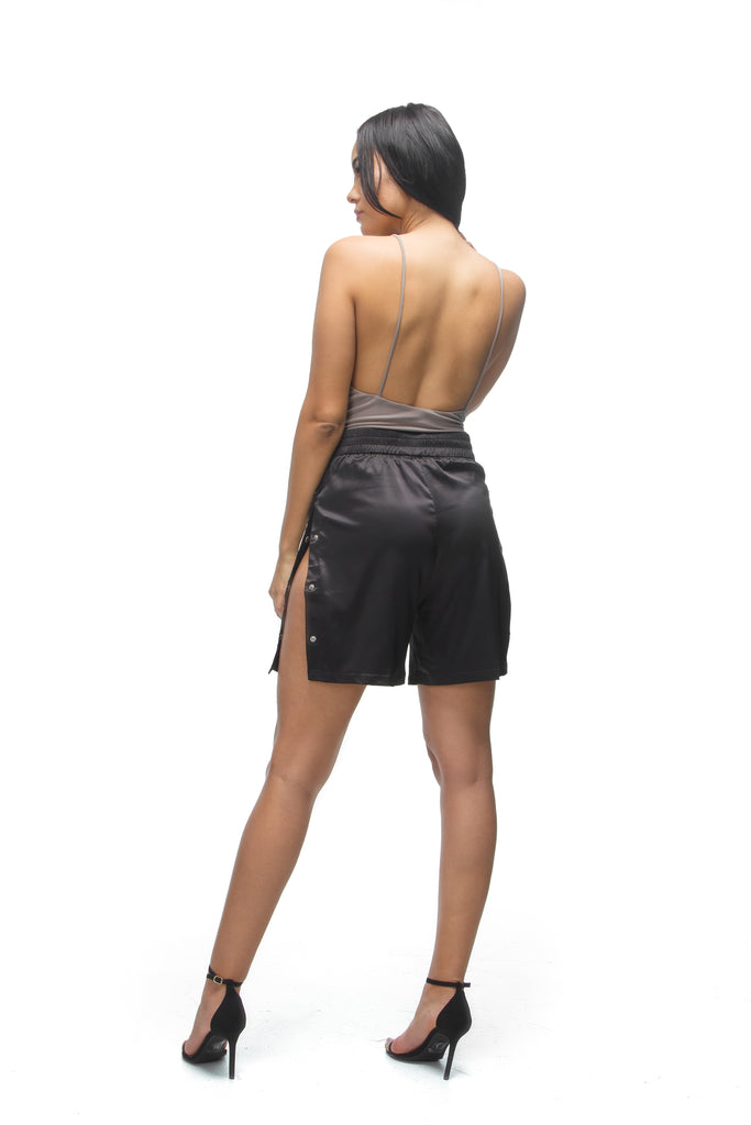 THE MYSTYLEMODE MOCHA V NECK LOW BACK DOUBLE LINED ESSENTIAL BODYSUIT