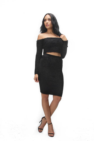THE MYSTYLEMODE BLACK FUNNEL NECK LONG SLEEVE MINI DRESS